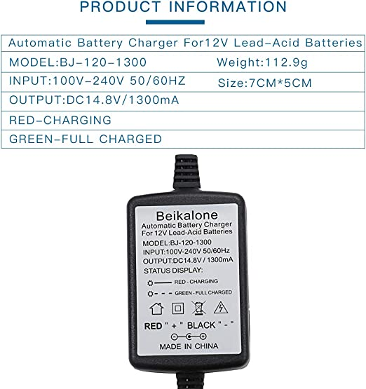 Battery Charger 1300mA with Short Circuit Protection SLA 12V Sealed Lead Acid