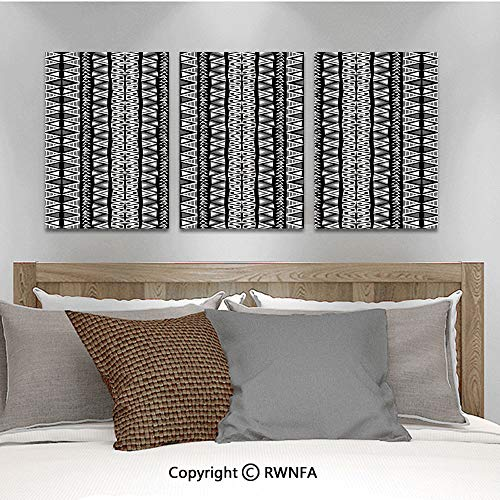 (3Pc Creative Wall Stickers Ethnic Boho Aztec Pattern in Black and White with Western Native Effects Folk Design Decorative Bedroom Kids Room Nursery Dinning Wall Decals Removable Art Murals,19.7