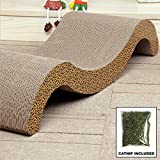 Cheap Paw Essentials Fun Shaped Cardboard Cat Scratching Pad for Scratching and Resting with Catnip (15.7 x 11.7 x 7.5in)