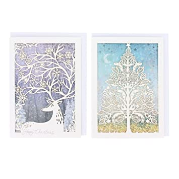 stag and tree laser cut christmas cards box of 8 - Laser Cut Christmas Cards