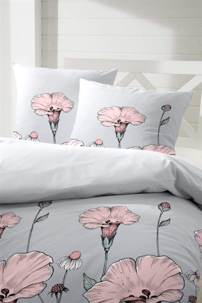 Primera Edelflanell Biber Bettwäsche 135x200 Blumen grau rosa 174121-84