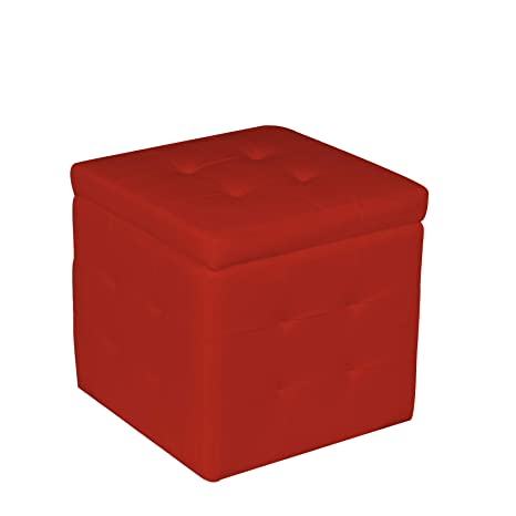 Pouf Cubo.Esidra Pouf Contenitore In Pelle Ecologica Pouf Cubo 47 X 45 X 45 Cm Finta Pelle Rosso Big