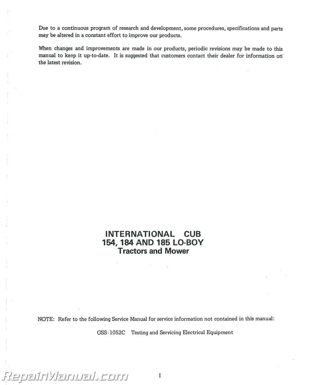 Business & Industrial INTERNATIONAL 154 184 185 CUB/CUB LO-BOY ...