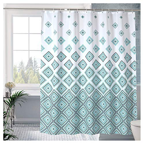 LanMeng Extra Long Elegance Luxury Bathroom Fabric Shower Curtain, Magic Square, Waterproof, 72-by-78 - Shower Real Curtain Squares