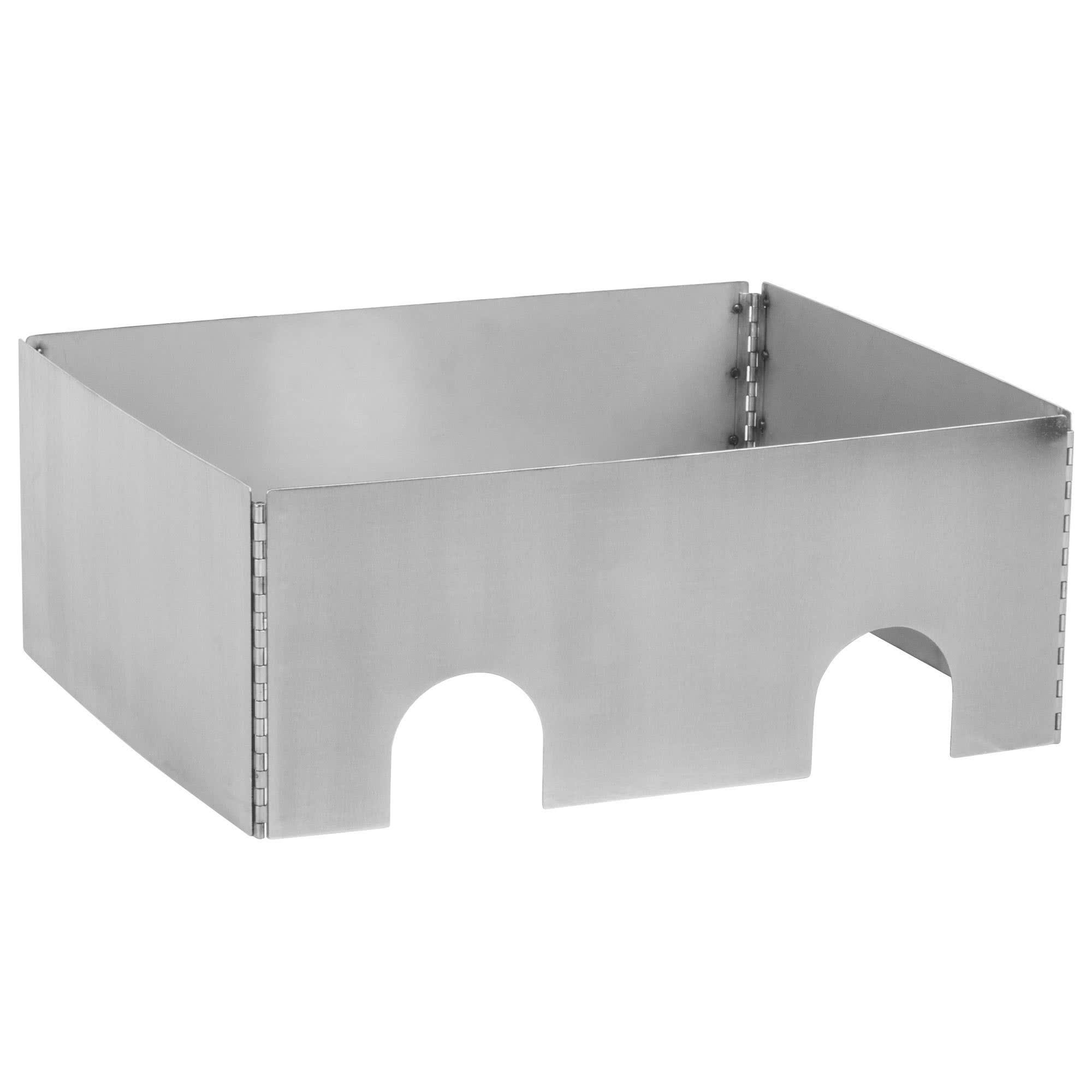 TableTop king Caterware CW602BRS 2-Well Collapsible 16 Gauge Brushed Stainless Steel Server - 25 1/2'' x 20 1/2'' x 10''