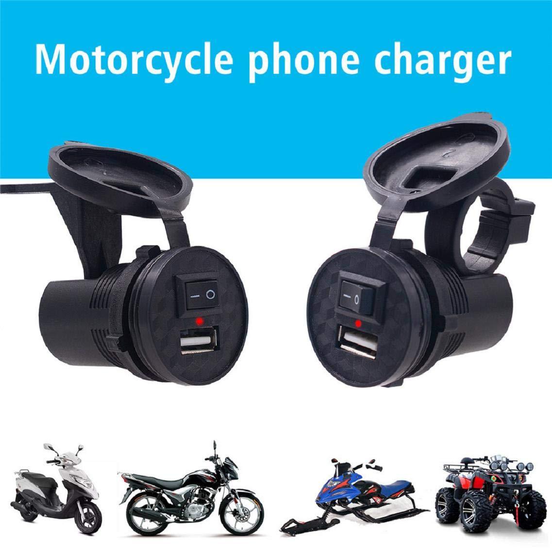 Prise de Charge pour Chargeur USB GPS Vaycally Chargeur USB pour Moto /électrique avec Interrupteur Adaptateur Secteur pour Chargeur de t/él/éphone Moto /Étanche 12V /à 5V 1.5A