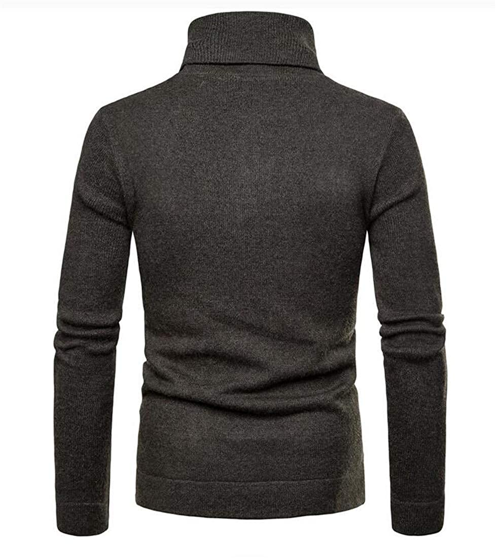 Cromoncent Mens Pure Color Pullover Turtleneck Zipper Jumper Knitted Sweater
