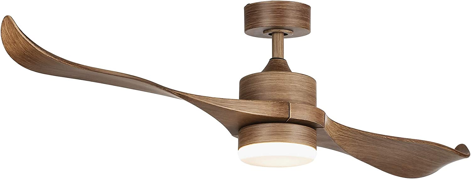 CO-Z 52-Inch Ceiling Fan with 2 Walnut Color ABS Blades and White Glass 15W LED Light Kit, Natural Walnut Finish (Natural Walnut)