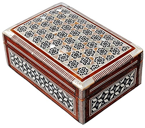 Gloobal Stoore Egyptian Mosaic Jewelry Trinket Box Mother of Pearl - First Quality