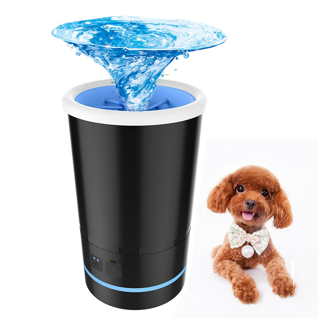 Automatic Dog Paw Cleaner, Portable Pet Foot Washer Cup with USB Charging & Colorful LED Light, Silicone Bristles Pet Clean Brush Cleaning Paw Muddy Feet (Black)