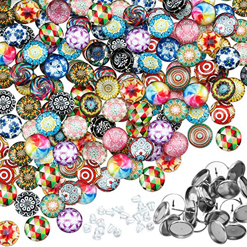 200 Pieces 12 mm Dome Cabochons Mosaic Printed Glass Mosaic Tiles 20 Patterns with 20 Pieces Stainless Steel Stud Earring for Jewelry Making, DIY Craft