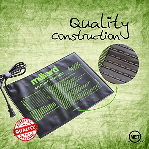 "Milliard Durable 15"" x 11"" Waterproof Hydroponic Seedling Heat Mat / Warm Heating Pad to Increase and Expedite Plant Growth"