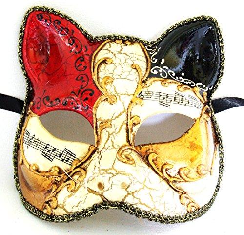 Antique Cat Mask Red & Black Mardi Gras Mask Venetian Gatto Halloween Costume -