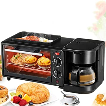 FUHUANGYB Hogar Eléctrico 3 En 1 Desayuno Que Hace La Máquina Multifunción Mini Drip Coffee Maker Pan Pizza Horno Sartén Tostadora: Amazon.es: Hogar