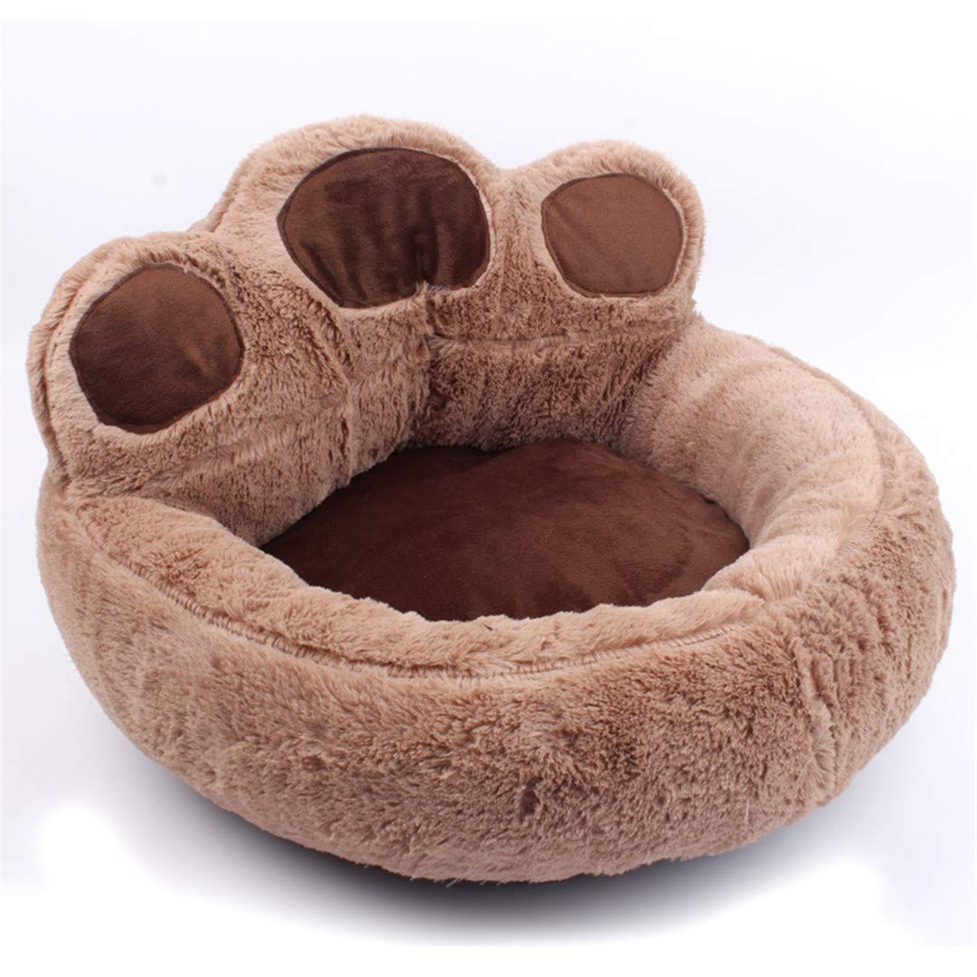 Gteplany Pet Dog Cat Warm Bed Winter Lovely Dog Bed Soft Material Pet Nest Cute Paw Kennel for Cat Puppy Sofa Beds for Dogs Accessories Brown XL 73X80 cm