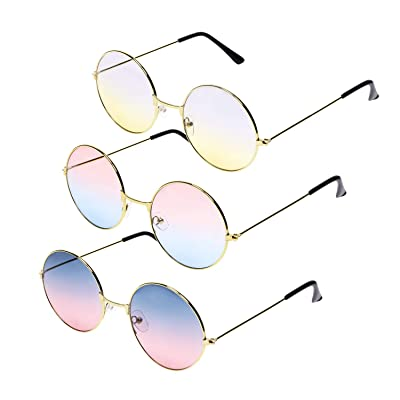 Penta Angel 3Pcs Colored Round Retro Hippie Sunglasses Vintage 60's 70's Style John Lennon Circle Glasses for Men Women Kids Party Favors Dressing Costume Accessory: Toys & Games
