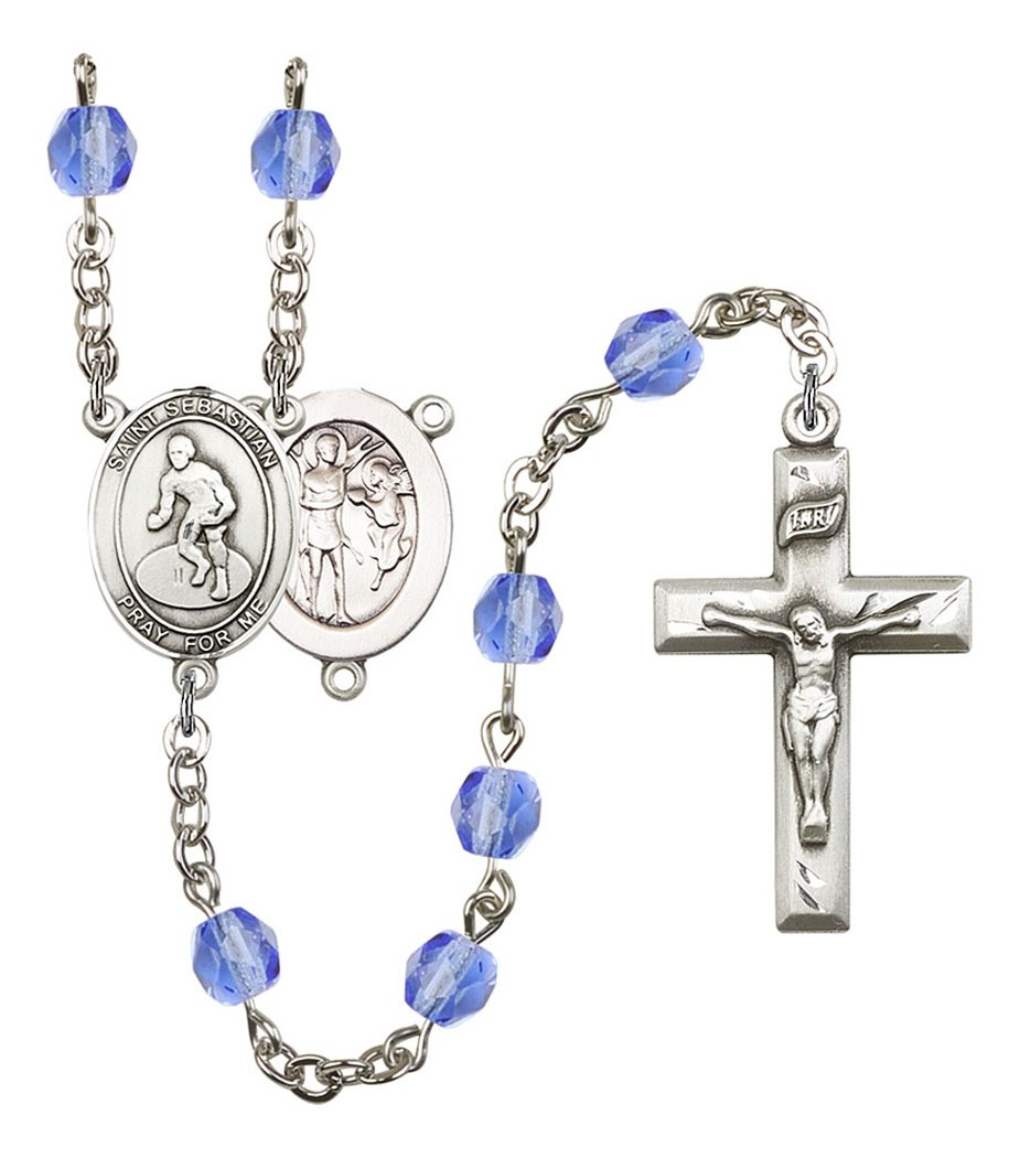 September Birth Month Prayer Bead Rosary with Saint Sebastian Wrestling Centerpiece, 19 Inch
