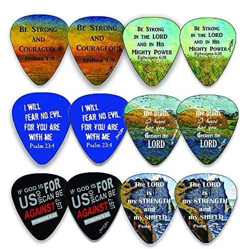 Pick Guitar Christian Necklace - Christian Guitar Picks (12 pack) - Be Strong - Jeremiah 29:11 - Celluloid Medium - Best Stocking Stuffers for Thanksgiving Christmas Birthday Music Ministry - Worship The Lord Excitedly