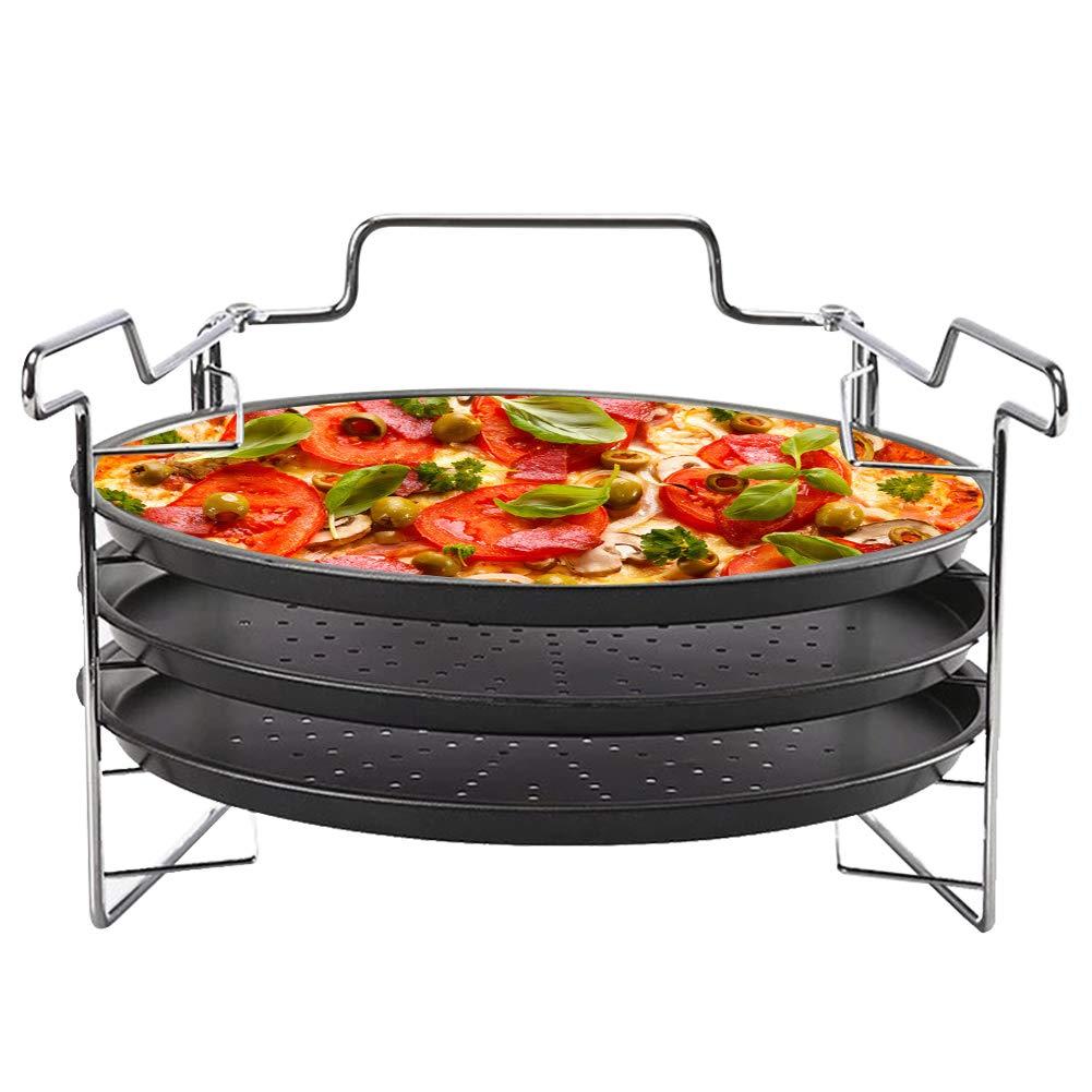 Molde para hornear pizza redondo de acero al carbono