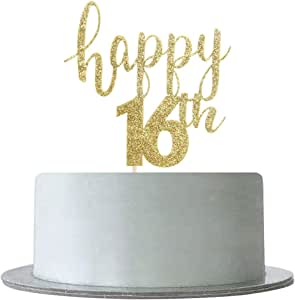Happy 16th Cake Topper for Sweet 16,Hello 16 Happy 16th Birthday/Anniversary/Retirement Party Decorations(Double Sided Gold Glitter)