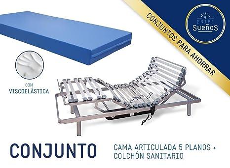 Cama / Somier ARTICULADO (geriátrica) a MOTOR con MANDO + COLCHON SANITARIO / GERIATRICO| Colchón con 5 cm de viscoelástica ...