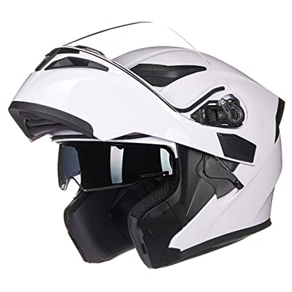 5e96993a Amazon.com: ILM Motorcycle Dual Visor Flip up Modular Full Face Helmet DOT  with 6 Colors (M, WHITE): Automotive