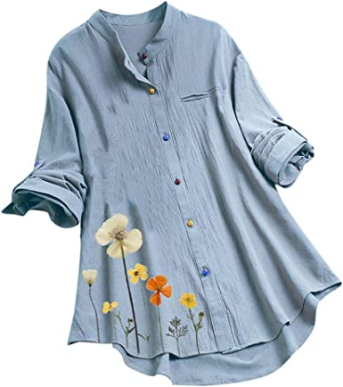 UK Womens Floral Long Sleeve Striped Button Ladies Casual Tops OL T-Shirt Blouse