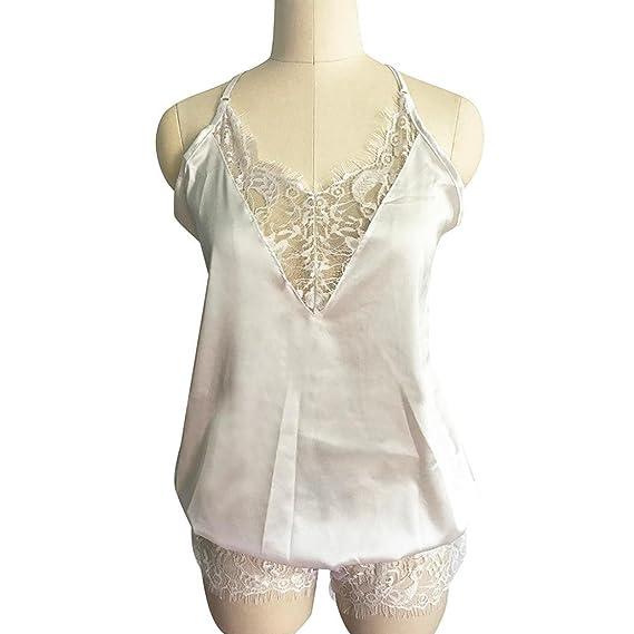 Teresamoon V Neck Playsuit, Women Sleeveless Lace Sleepwear Lingeries Clubwear at Amazon Womens Clothing store: