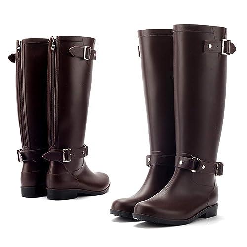 AONEGOLD Botas de Agua Mujer Botas de Lluvia Impermeable Altas Bota de Goma Wellington Boots Otoño e Invierno