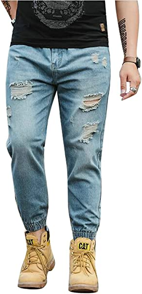 ARTFFEL Mens Slim Fit Elasticity Elastic Waist Winter with Velvet Jeans Denim Pants