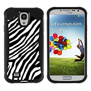 "Hypernova Defender Series TPU protection Cas Case Coque pour Samsung Galaxy S4 IV I9500 [Negro White Stripes Líneas África""]"