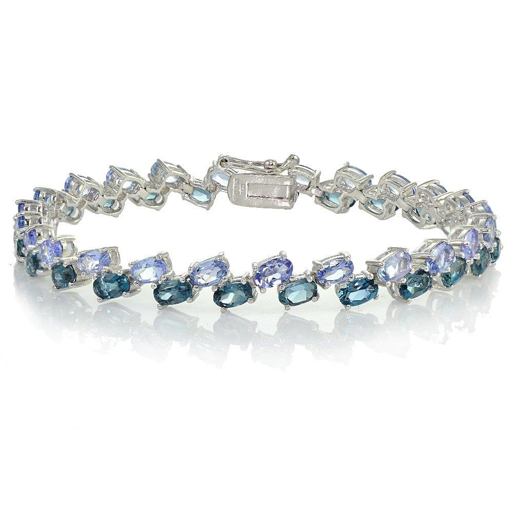 Sterling Silver Tanzanite and London Blue Topaz 2-Row Bracelet