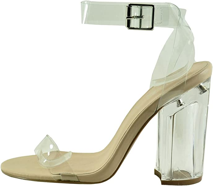 ef511a56ed3 Qupid Kloude 07 Women s Strappy Buckled Perspex Block Heels