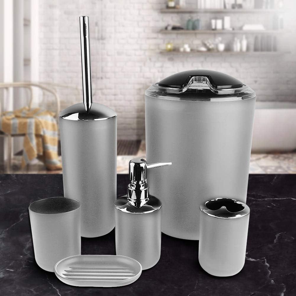 bianco portaspazzolino medium dispenser di sapone bidone della spazzatura bianco OhhGo Set di 6 accessori da bagno