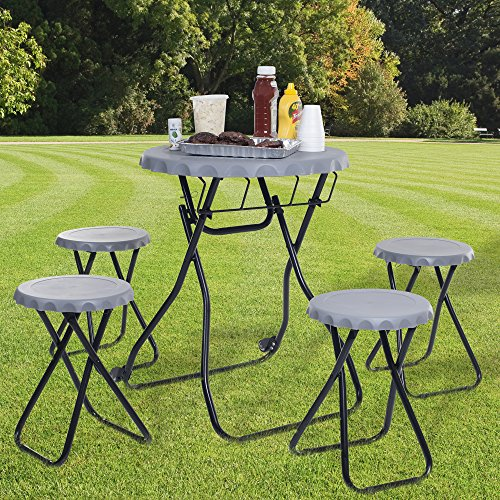 Everyday Home 5-Piece Portable Picnic Table Tailgate Set, Pop-Up Table and 4 Chairs by Everyday Home