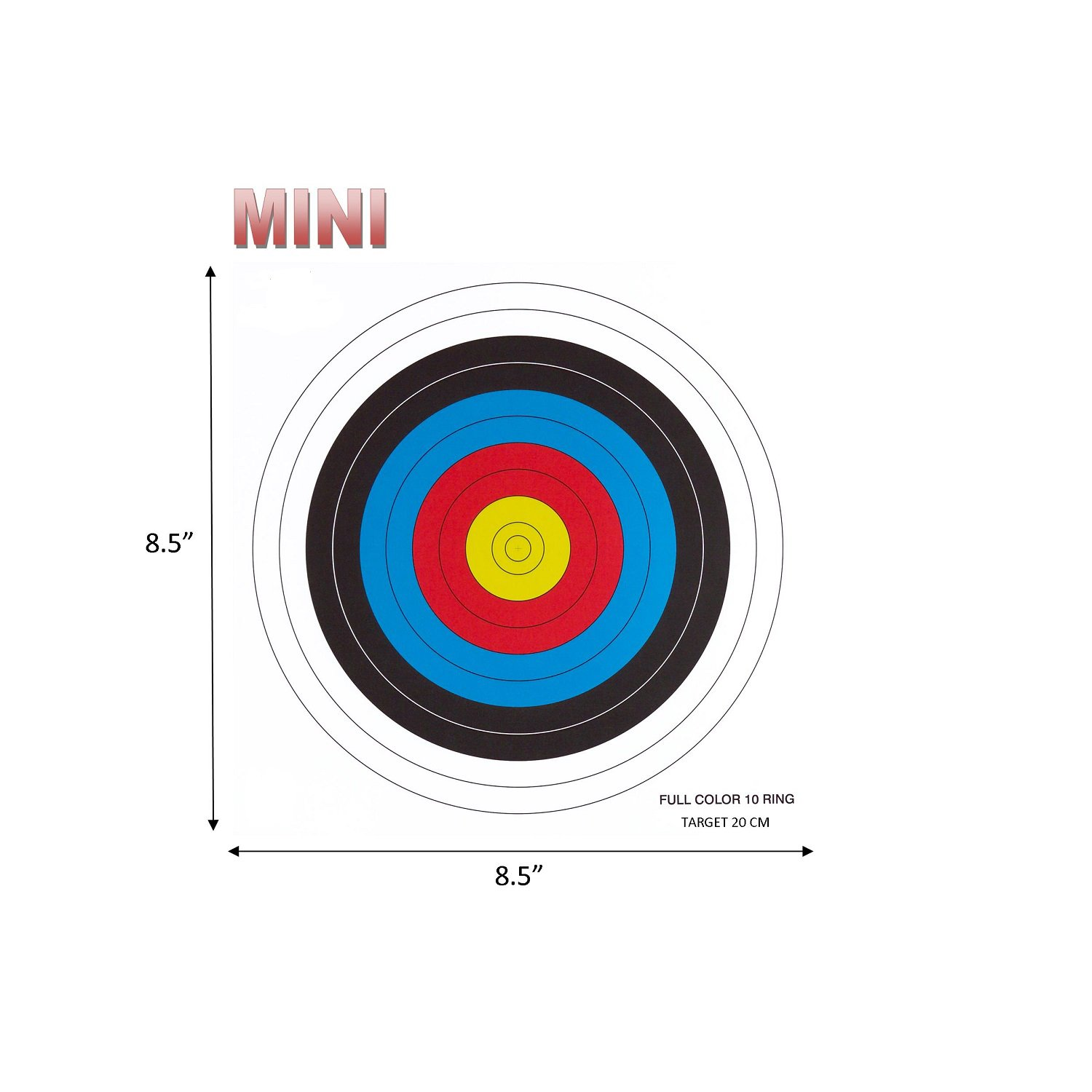 .30-06 Outdoors 10 Ring Mini Paper Target (100 Count), Red/Blue/Yellow