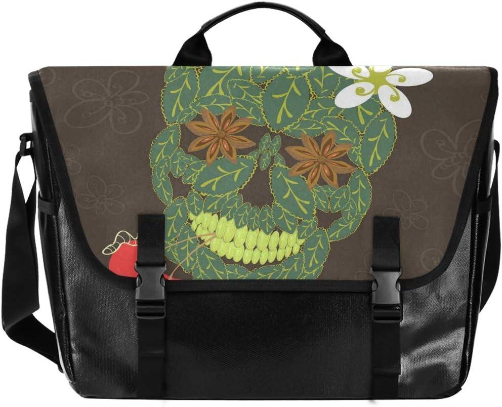 Human Skull Colorful Flower Bulldog Laptop Computer Traveling Camping Messenger Bag for Men Women Student Casual Canvas Satchel Shoulder Bag