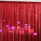 ShinyBeauty Red Draping Sequin Fabric Backdrop 120'' x 120'', Handmake Sequin Fabric, Sequin Background-10FTx20FT