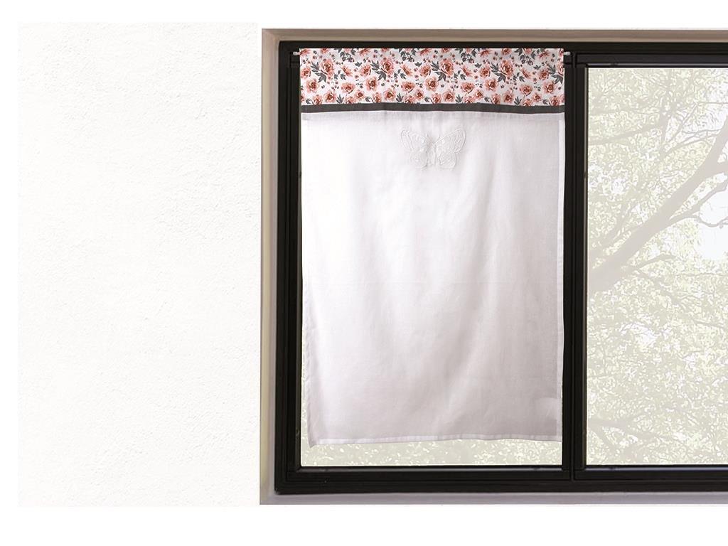 Soleil d'ocre Tendina a vetro ricamata in cotone 45x90 cm ROSE SELARTEX 042739