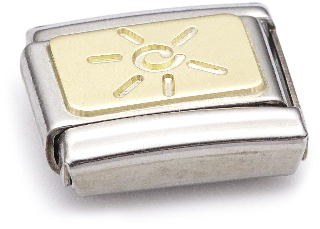 Acier inoxydable et Or jaune 18 cts Maillon pour bracelet composable Mixte Nomination 030125