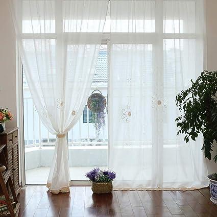 Tende per finestra da taschino in tinta unita con ricamo in cotone ...
