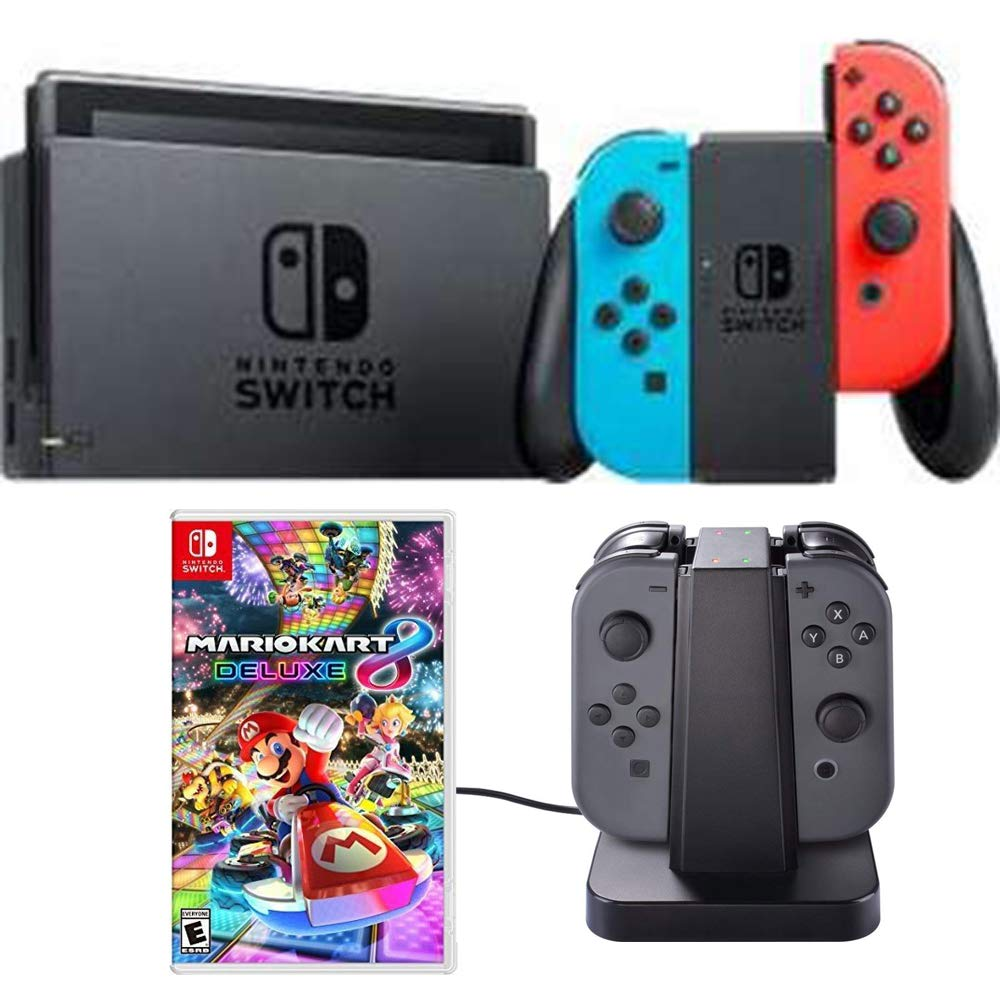Nintendo Switch 32 GB Console with Neon Blue and Red Joy-Con (HACSKABAA) Mario Kart 8 Deluxe for Switch & Deco Gear Switch Joy-Con Charging Dock