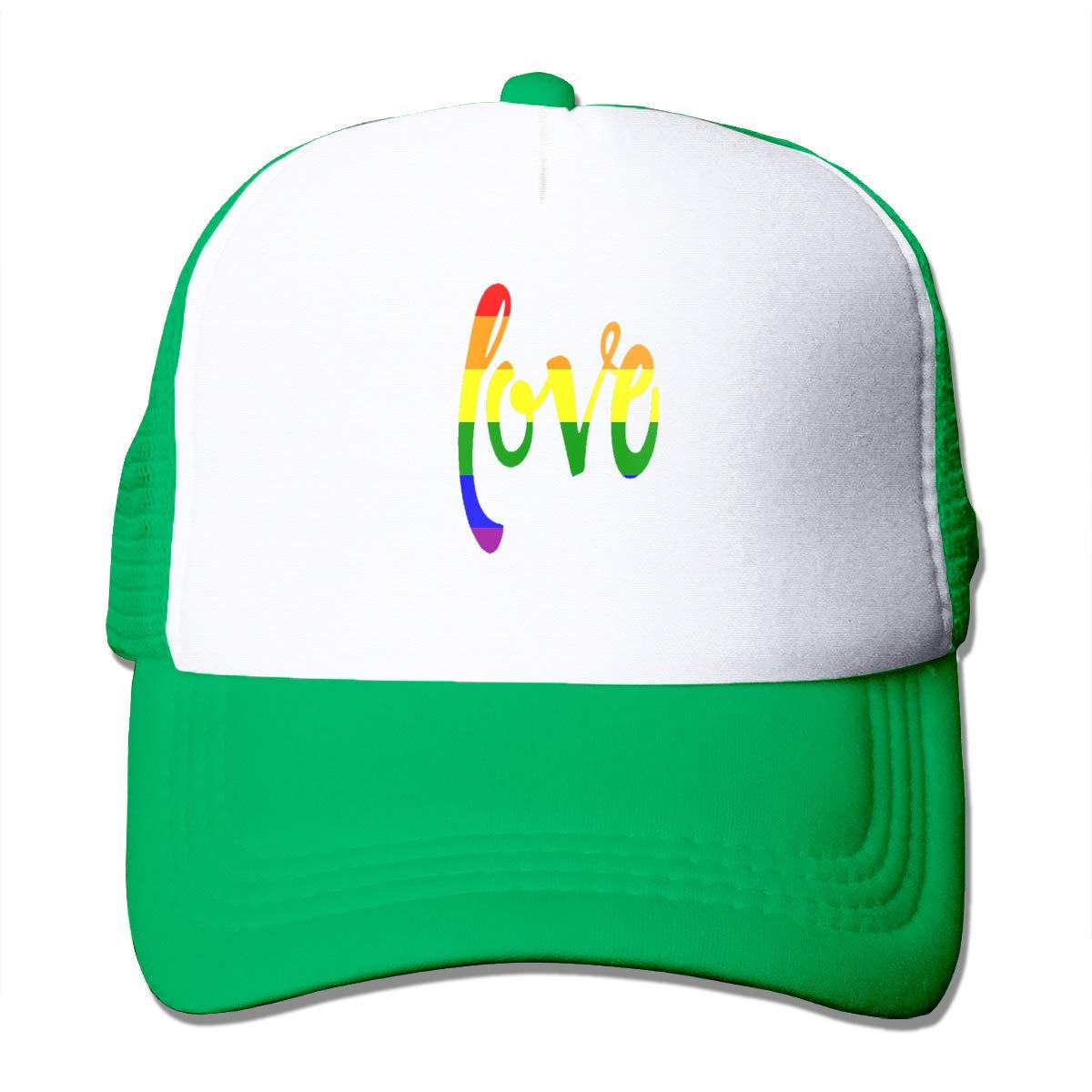 Gay Pride Rainbow Love 3 Trucker Hats Toddler Mesh Black Baseball Caps Sun Breathable Hat Black