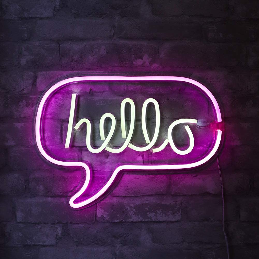 "Isaac Jacobs 17"" x 12"" inch LED Neon 'White & Pink ""hello"" Word Bubble' Wall Sign for Cool Light, Wall Art, Bedroom Decorations, Home Accessories, Party, and Holiday Décor: Powered by USB Wire (HELLO)"