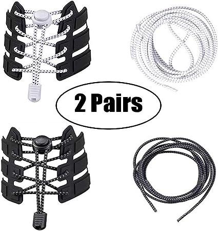 Round Elastic Plastic Lock Shoelaces No Tie Shoes Laces Jogging Casual Sneakers