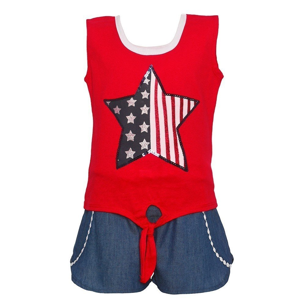 RMLA Little Girls Red White Blue Star Flag Print Patriotic 2 Pc Shorts Outfit 4T