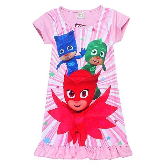 Kids Girls Pink PJ Masks Connor Catboy \ Amaya Owlette \ Greg Gekko \ Nightgown Pajamas