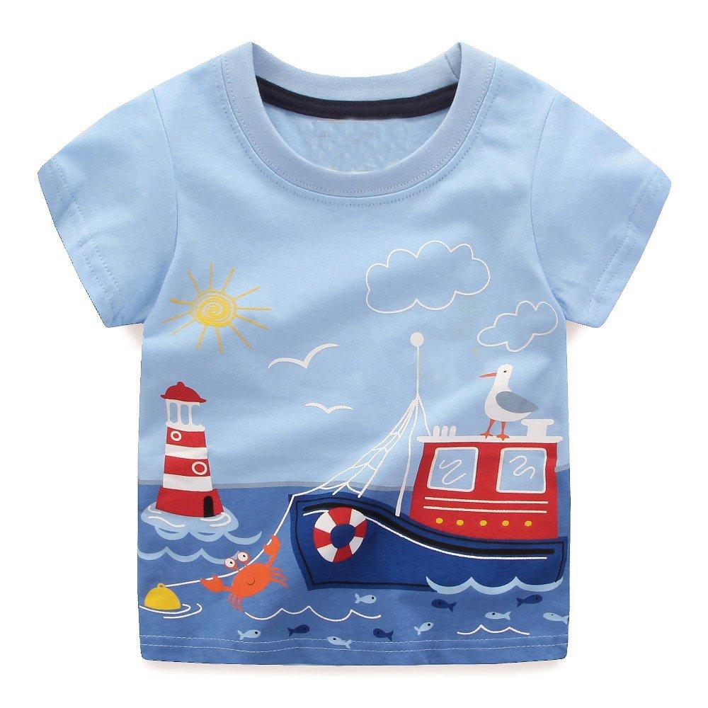 IsabelaKids Little Boys Summer Crewneck Cartoon Cotton Short Sleeve T Shirt