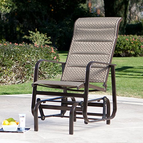 Quick-dry Padded Sling Aluminum Outdoor Patio Stylish Glider Chair it's Powder-coated, Weather-proof - Bronze - Aluminum Sling Glider