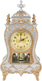 Vintage Alarm Clock Desk Classic Clock TV Cabinet Room Imperial Desk Cabinet Creative Decoration Sit Pendulum Clock,White